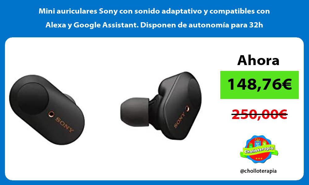 Mini auriculares Sony con sonido adaptativo y compatibles con Alexa y Google Assistant Disponen de autonomía para 32h