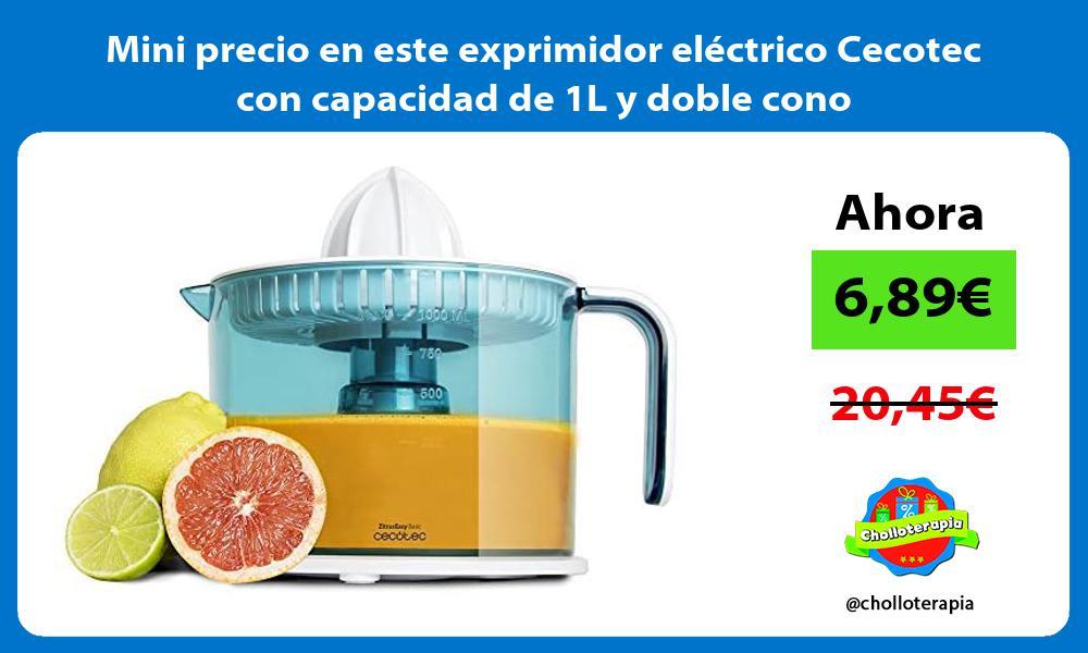 Mini precio en este exprimidor electrico Cecotec con capacidad de 1L y doble cono