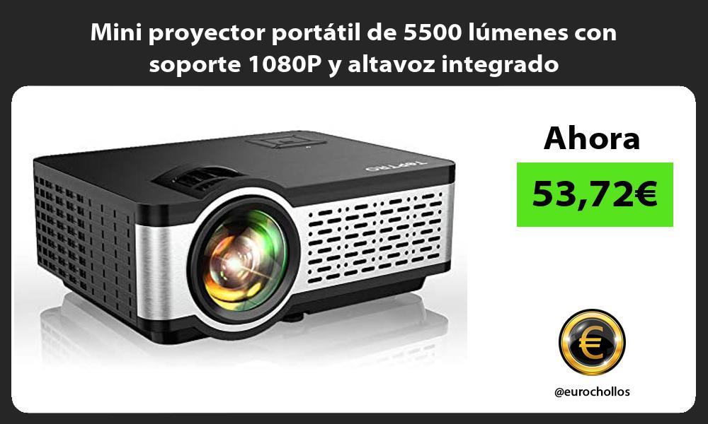 Mini proyector portatil de 5500 lumenes con soporte 1080P y altavoz integrado