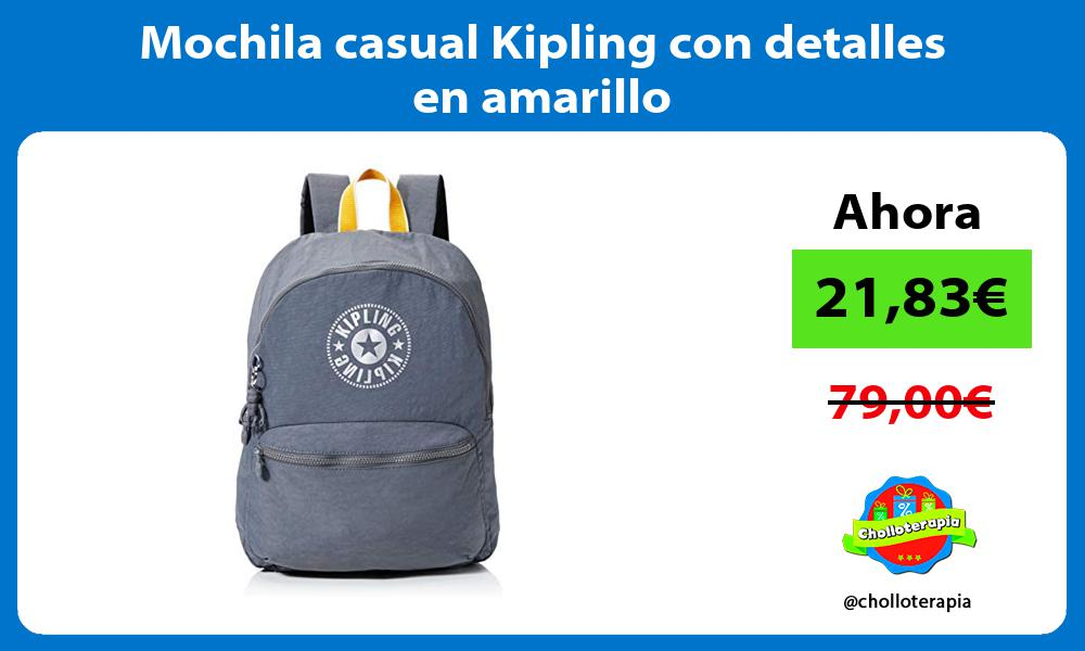 Mochila casual Kipling con detalles en amarillo