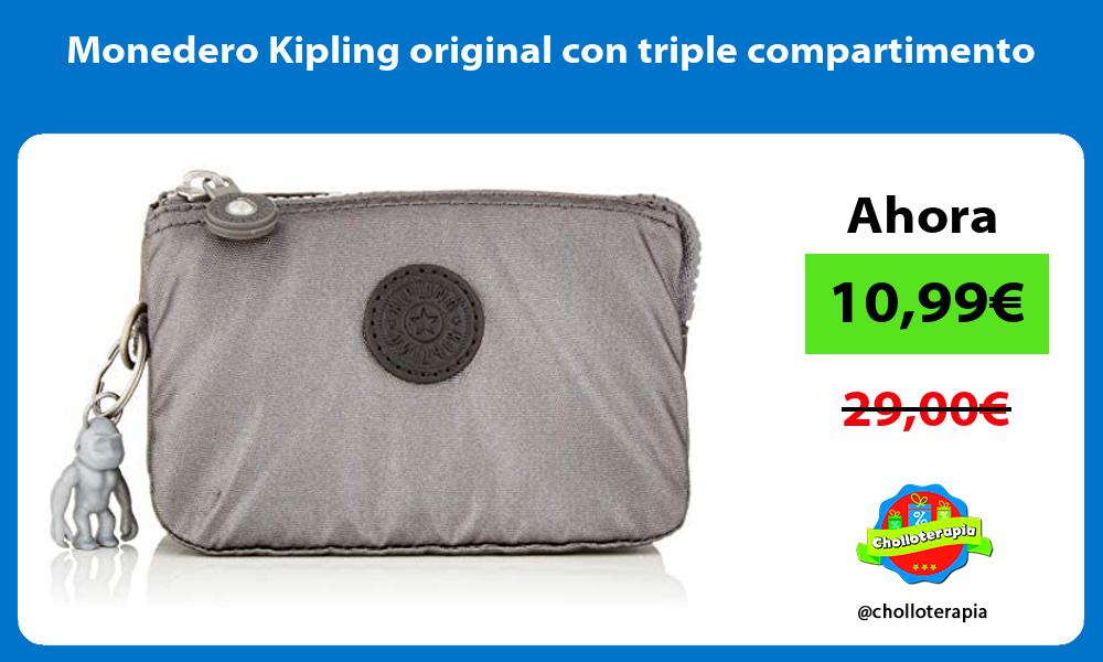Monedero Kipling original con triple compartimento