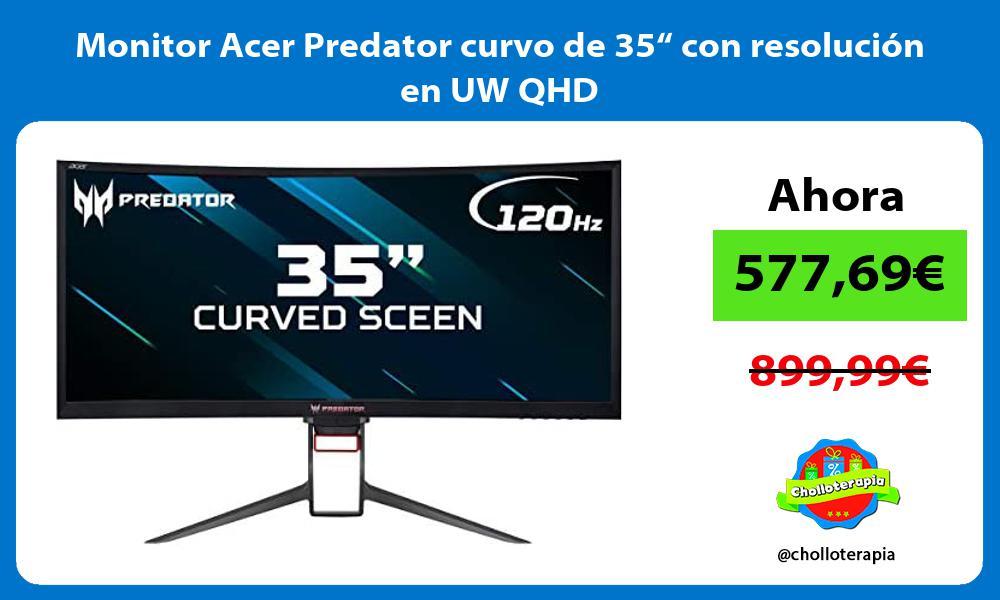 """Monitor Acer Predator curvo de 35"""" con resolución en UW QHD"""
