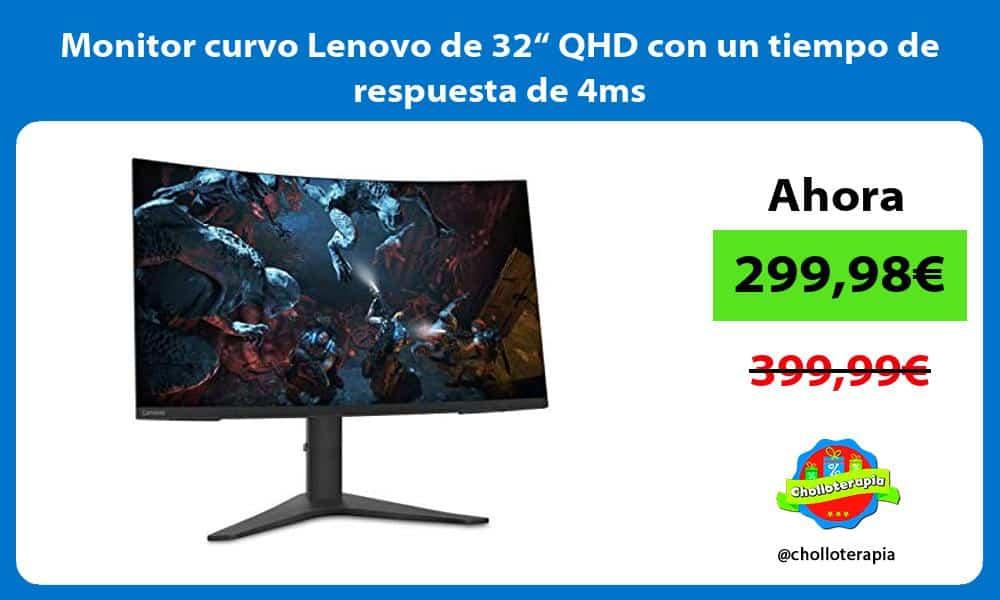 """Monitor curvo Lenovo de 32"""" QHD con un tiempo de respuesta de 4ms"""