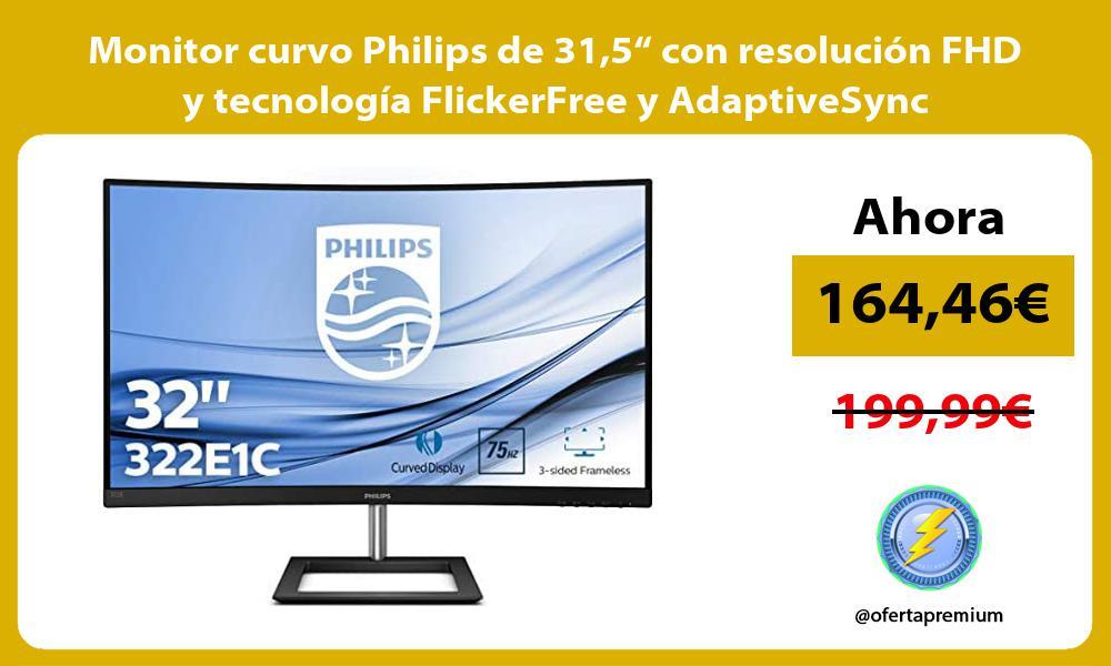 """Monitor curvo Philips de 315"""" con resolución FHD y tecnología FlickerFree y AdaptiveSync"""