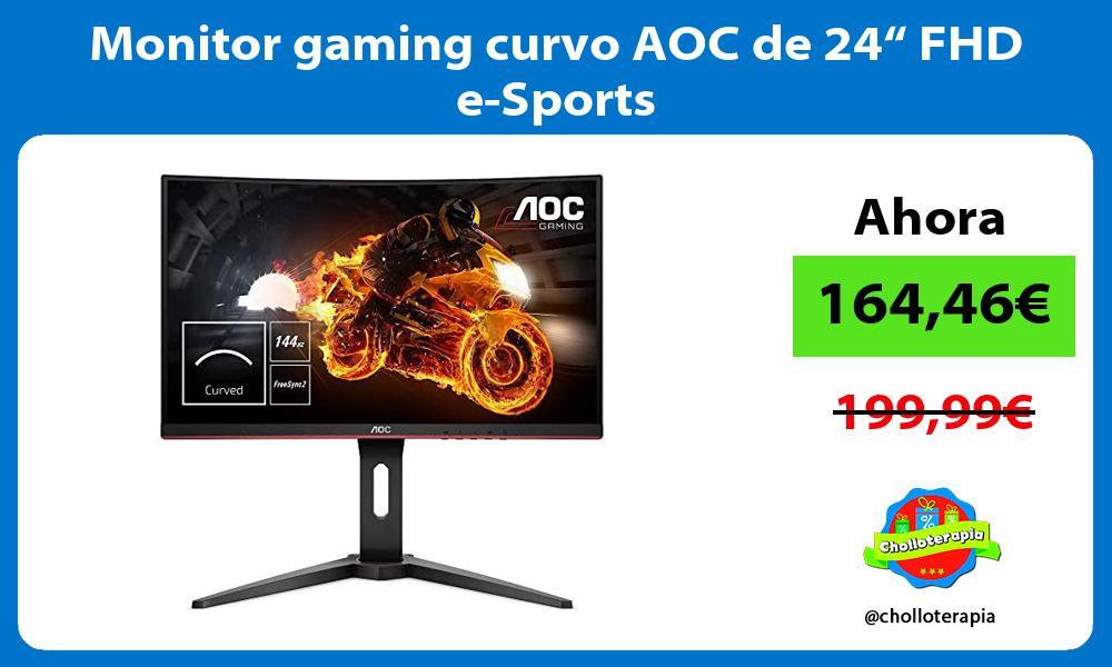 "Monitor gaming curvo AOC de 24"" FHD e Sports"