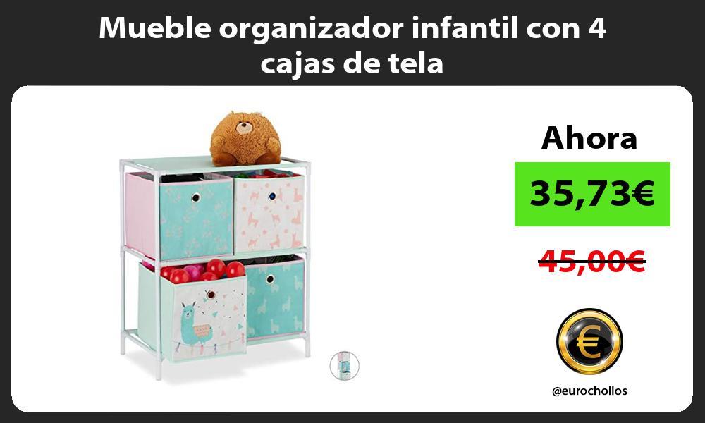 Mueble organizador infantil con 4 cajas de tela