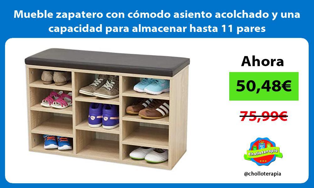 Mueble zapatero con comodo asiento acolchado y una capacidad para almacenar hasta 11 pares