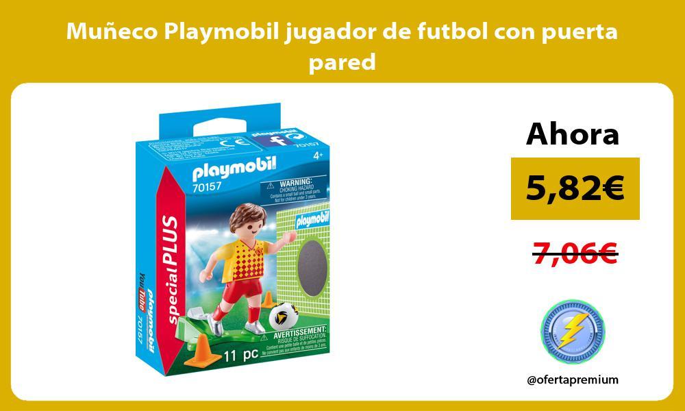 Muneco Playmobil jugador de futbol con puerta pared