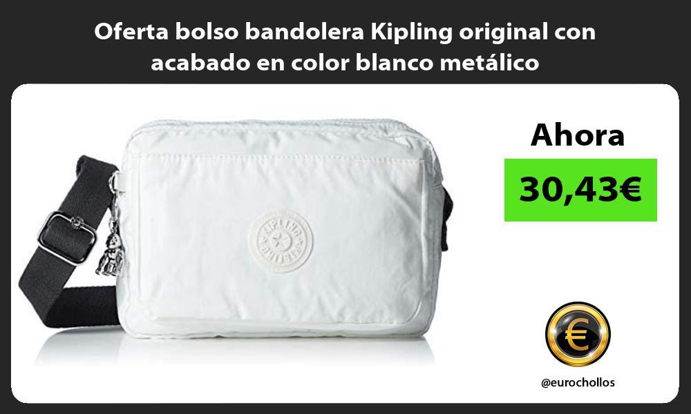Oferta bolso bandolera Kipling original con acabado en color blanco metalico