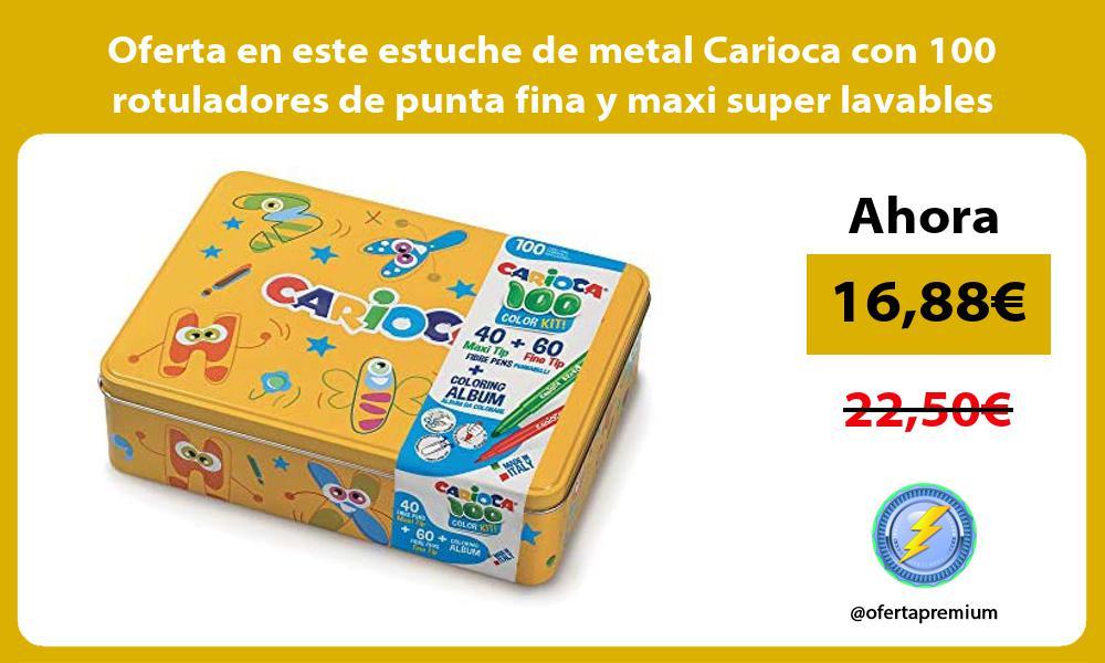 Oferta en este estuche de metal Carioca con 100 rotuladores de punta fina y maxi super lavables