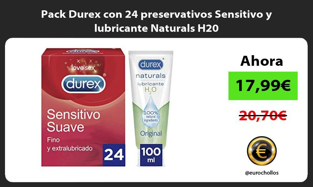 Pack Durex con 24 preservativos Sensitivo y lubricante Naturals H20