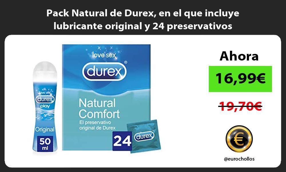 Pack Natural de Durex en el que incluye lubricante original y 24 preservativos