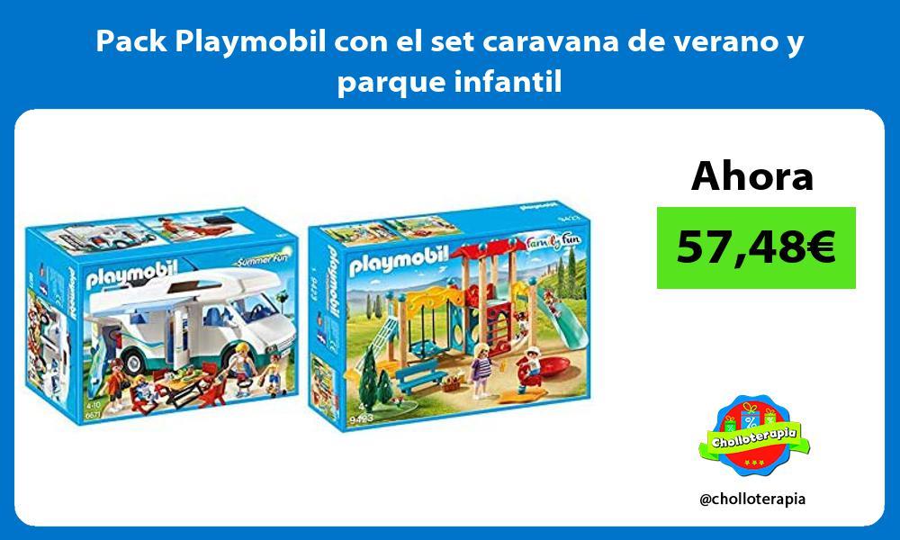 Pack Playmobil con el set caravana de verano y parque infantil