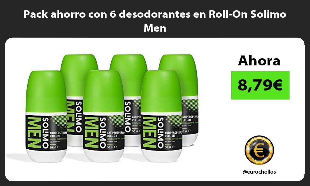 Pack ahorro con 6 desodorantes en Roll On Solimo Men