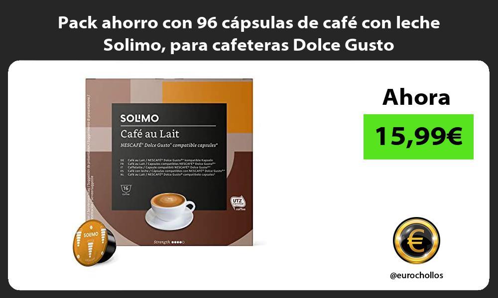 Pack ahorro con 96 capsulas de cafe con leche Solimo para cafeteras Dolce Gusto