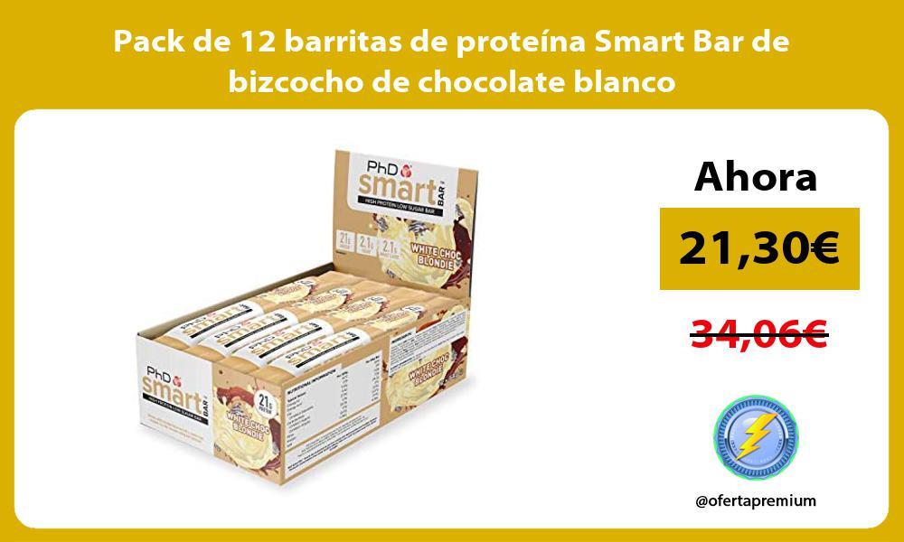 Pack de 12 barritas de proteína Smart Bar de bizcocho de chocolate blanco