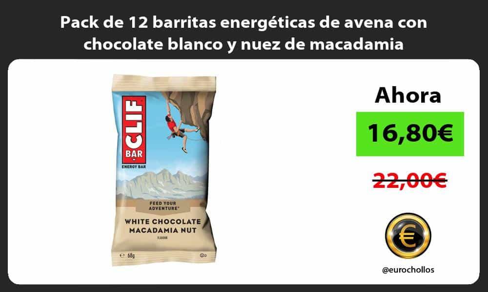 Pack de 12 barritas energéticas de avena con chocolate blanco y nuez de macadamia
