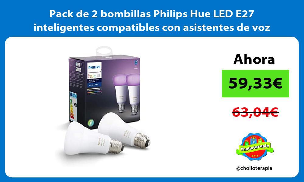 Pack de 2 bombillas Philips Hue LED E27 inteligentes compatibles con asistentes de voz como Alexa