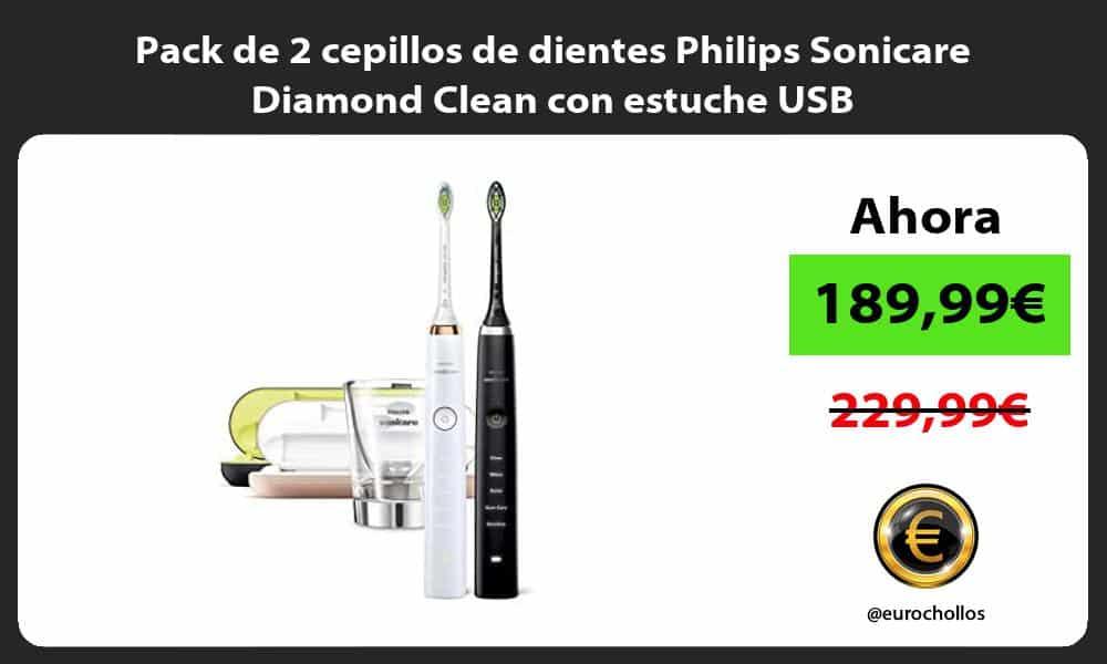 Pack de 2 cepillos de dientes Philips Sonicare Diamond Clean con estuche USB