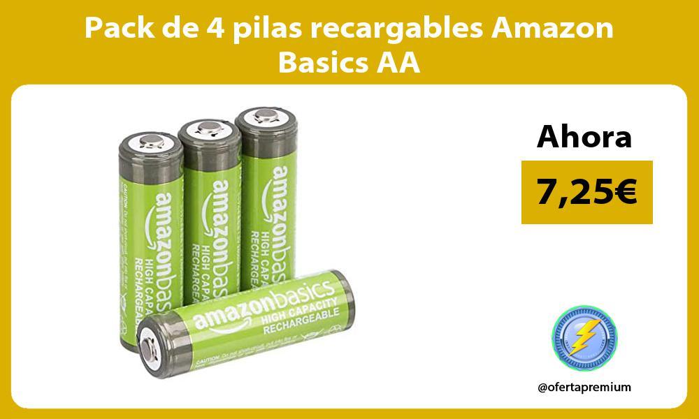 Pack de 4 pilas recargables Amazon Basics AA