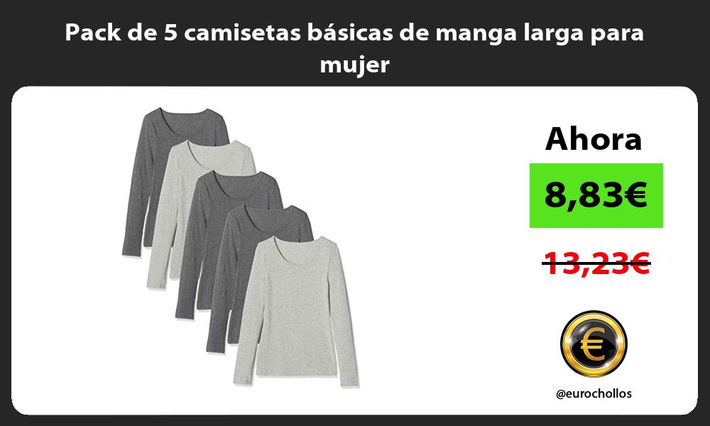 Pack de 5 camisetas básicas de manga larga para mujer