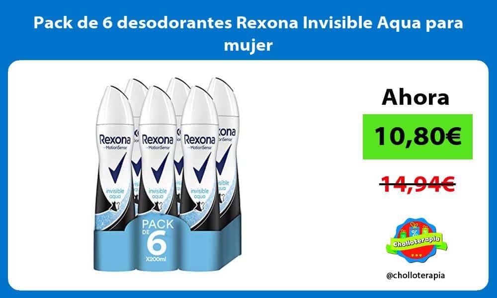 Pack de 6 desodorantes Rexona Invisible Aqua para mujer