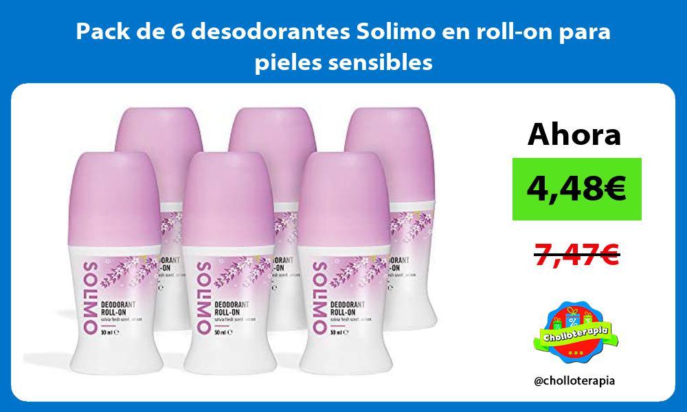 Pack de 6 desodorantes Solimo en roll on para pieles sensibles