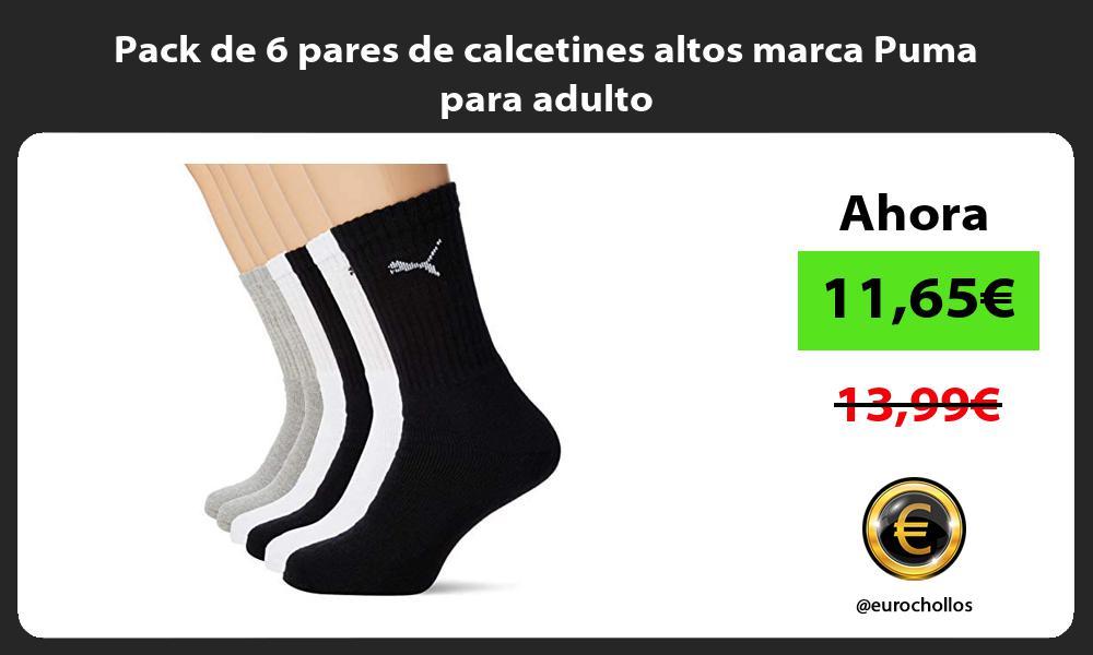 Pack de 6 pares de calcetines altos marca Puma para adulto