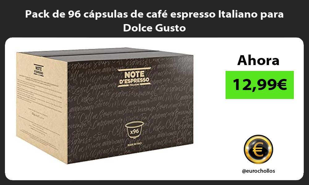 Pack de 96 capsulas de cafe espresso Italiano para Dolce Gusto