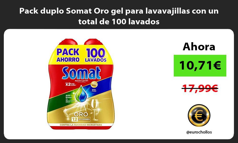 Pack duplo Somat Oro gel para lavavajillas con un total de 100 lavados