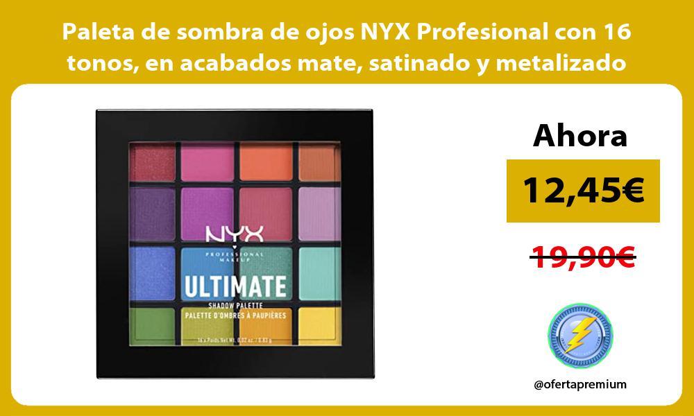Paleta de sombra de ojos NYX Profesional con 16 tonos en acabados mate satinado y metalizado
