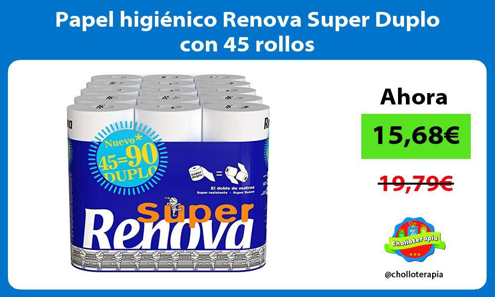 Papel higiénico Renova Super Duplo con 45 rollos