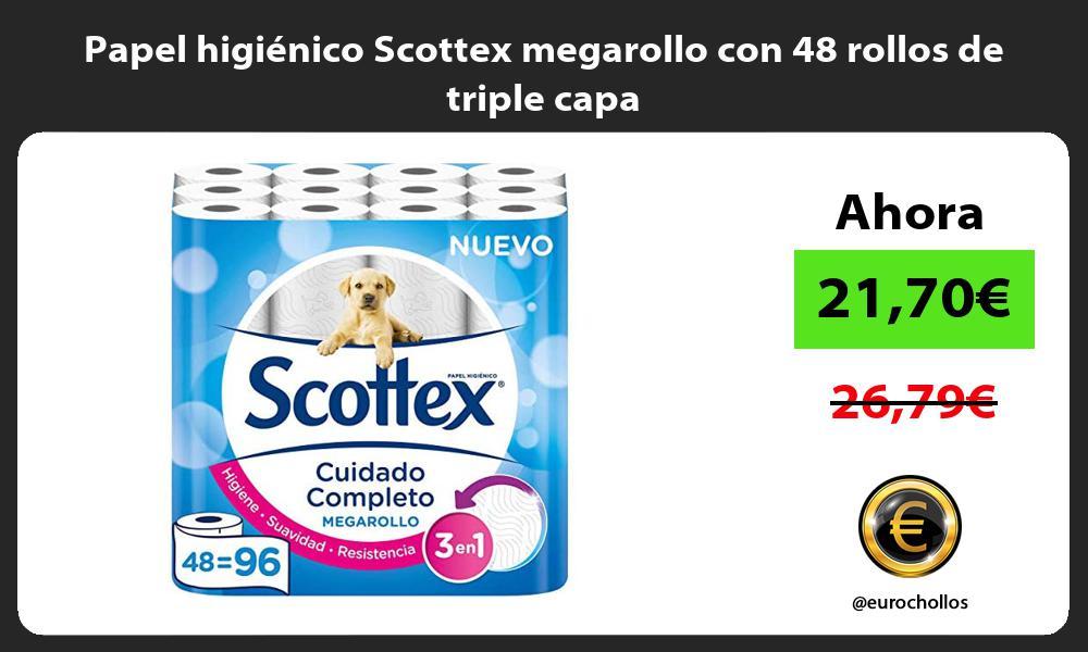 Papel higiénico Scottex megarollo con 48 rollos de triple capa
