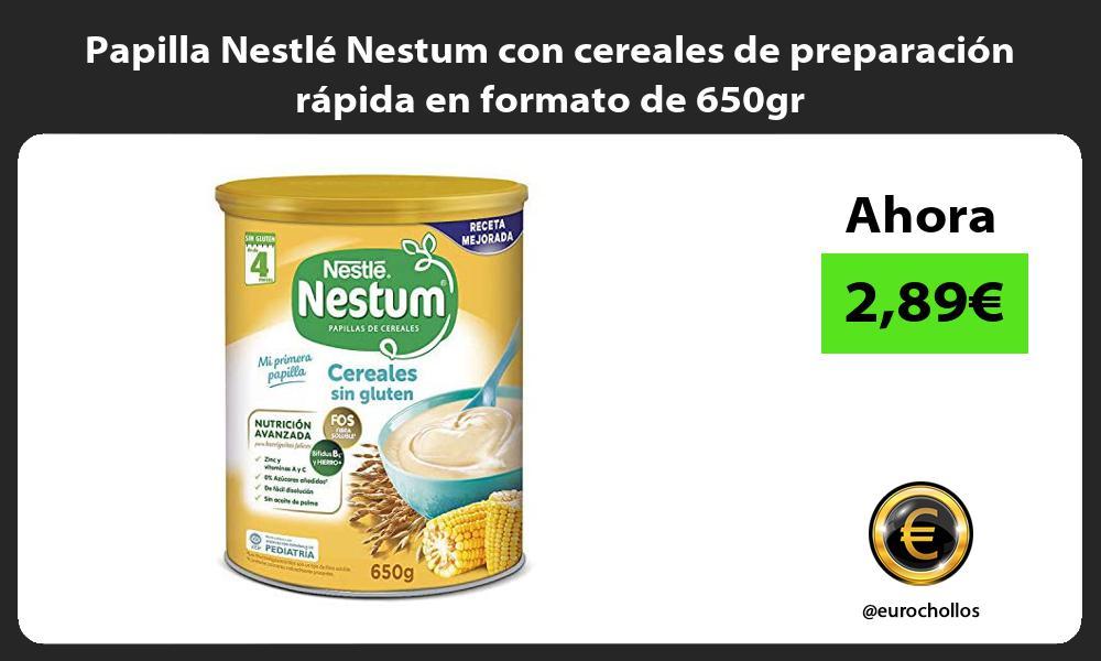 Papilla Nestle Nestum con cereales de preparacion rapida en formato de 650gr