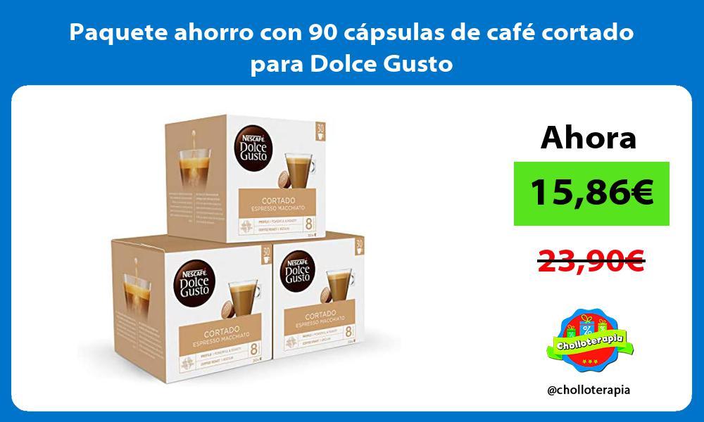 Paquete ahorro con 90 capsulas de cafe cortado para Dolce Gusto