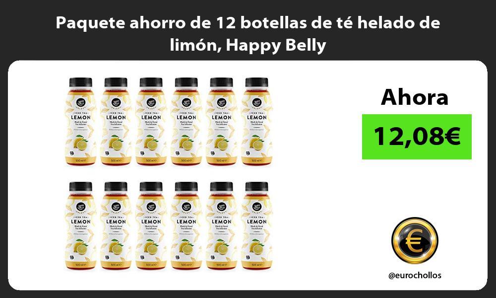 Paquete ahorro de 12 botellas de te helado de limon Happy Belly