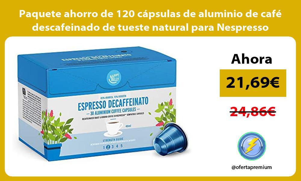 Paquete ahorro de 120 capsulas de aluminio de cafe descafeinado de tueste natural para Nespresso