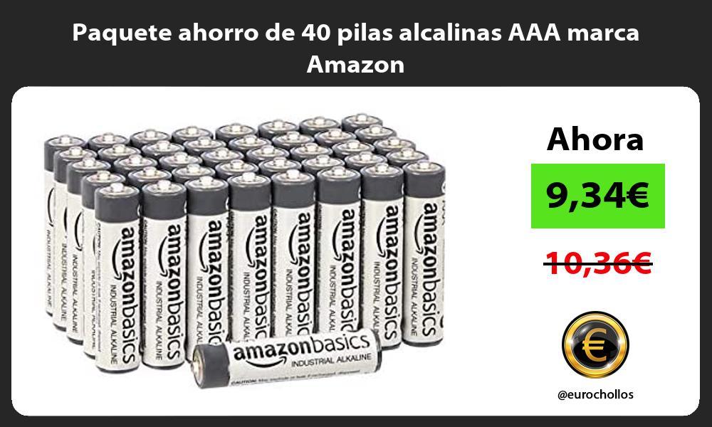 Paquete ahorro de 40 pilas alcalinas AAA marca Amazon