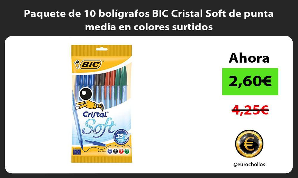 Paquete de 10 boligrafos BIC Cristal Soft de punta media en colores surtidos
