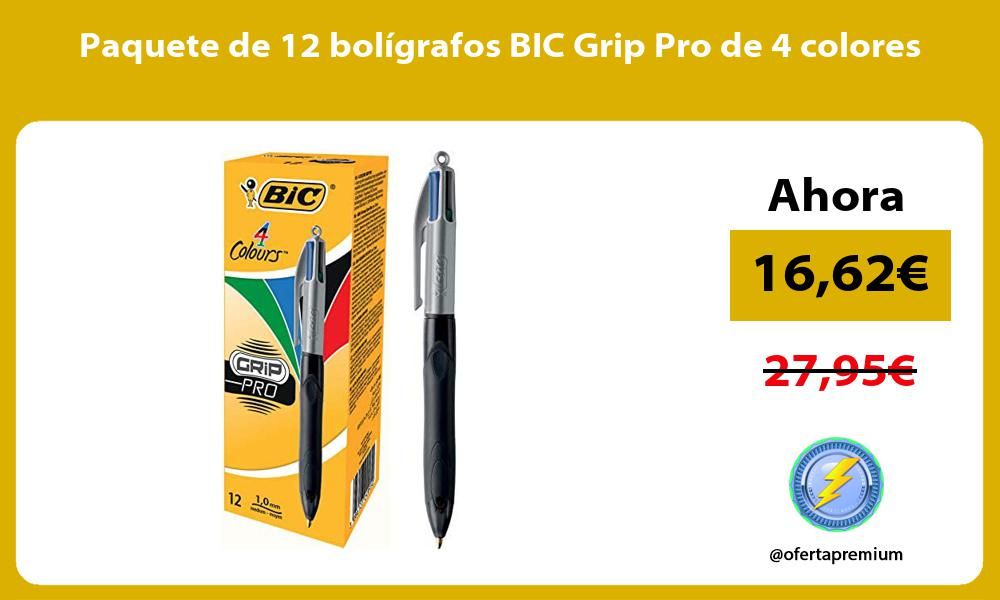 Paquete de 12 boligrafos BIC Grip Pro de 4 colores
