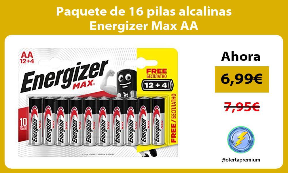 Paquete de 16 pilas alcalinas Energizer Max AA