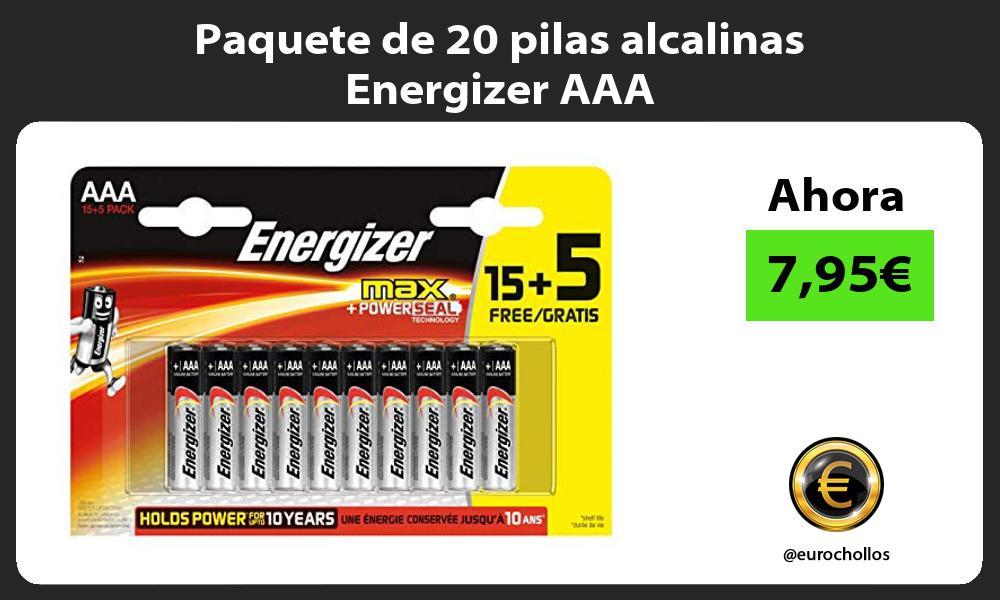 Paquete de 20 pilas alcalinas Energizer AAA