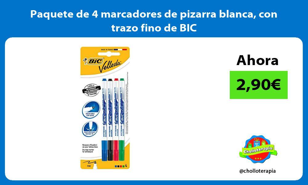 Paquete de 4 marcadores de pizarra blanca con trazo fino de BIC
