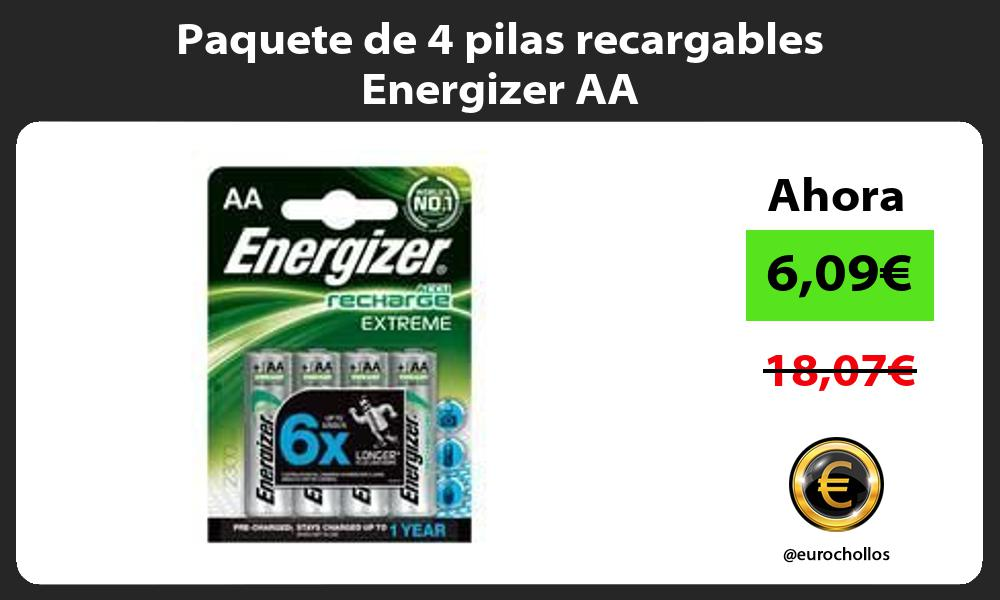 Paquete de 4 pilas recargables Energizer AA