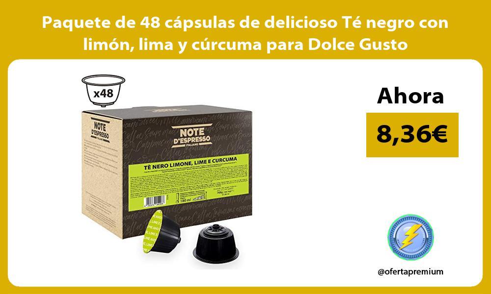 Paquete de 48 capsulas de delicioso Te negro con limon lima y curcuma para Dolce Gusto