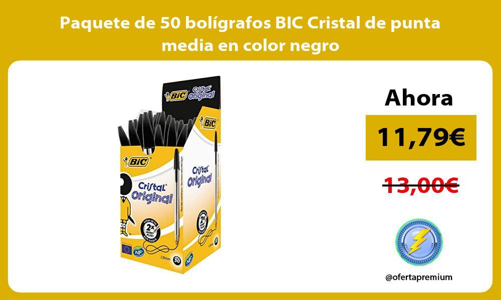 Paquete de 50 boligrafos BIC Cristal de punta media en color negro