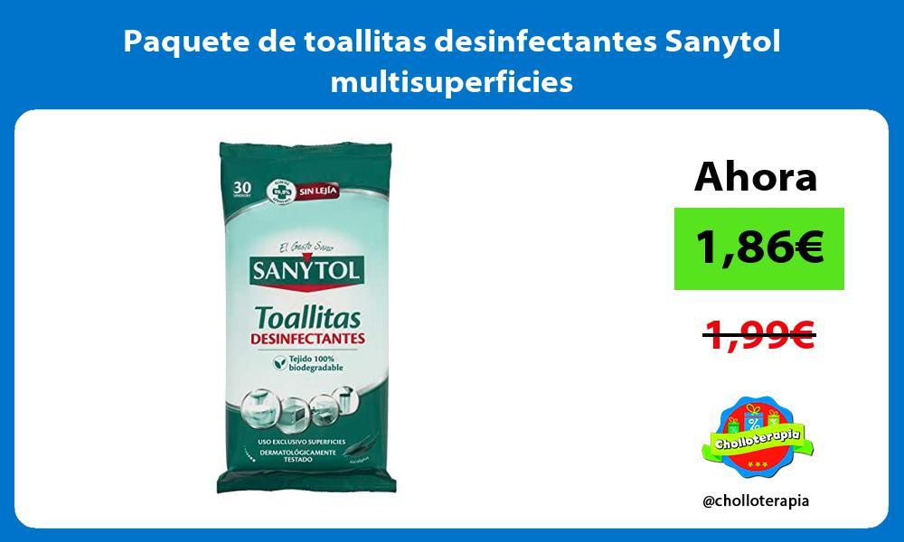 Paquete de toallitas desinfectantes Sanytol multisuperficies