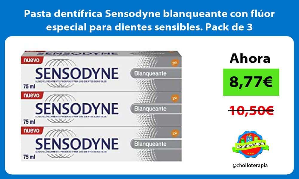Pasta dentífrica Sensodyne blanqueante con flúor especial para dientes sensibles Pack de 3