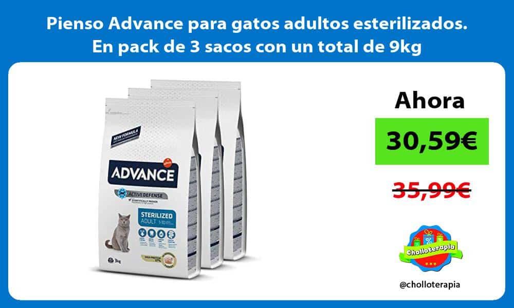 Pienso Advance para gatos adultos esterilizados En pack de 3 sacos con un total de 9kg