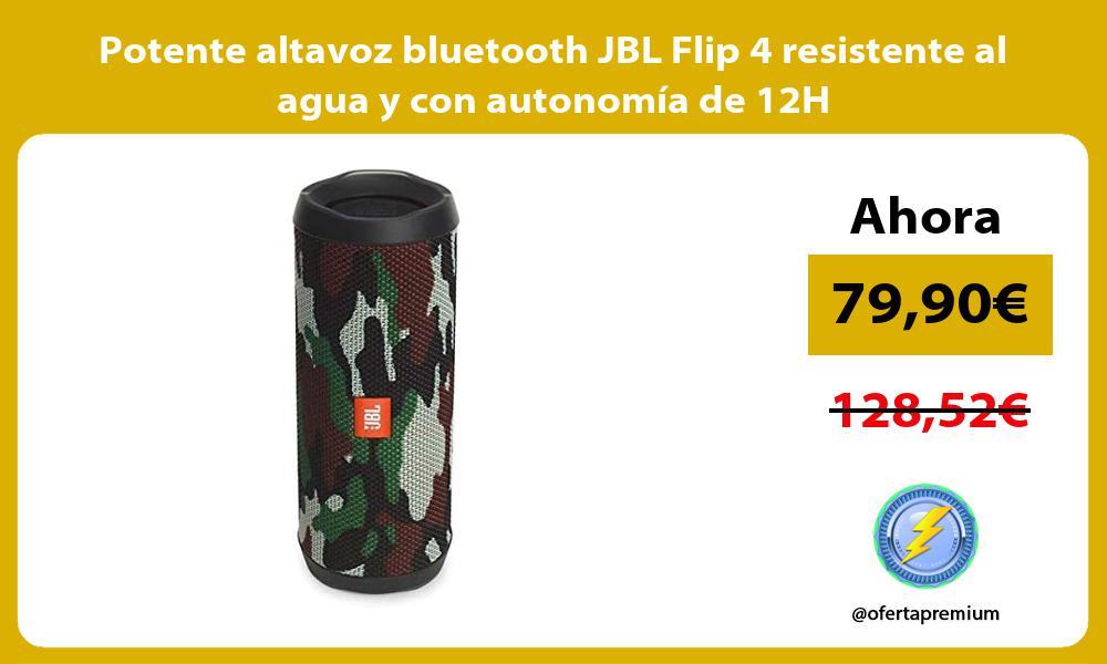 Potente altavoz bluetooth JBL Flip 4 resistente al agua y con autonomía de 12H